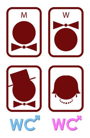 simbolo uomo donna: Set di icone vettore per gli uomini e le donne WC