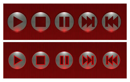 Set of red and silver vector buttons, on and off Vector