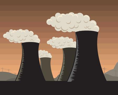 Vector illustration of industrial factories Vector