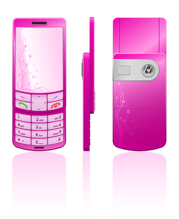 Vector photorealistic illustration of a pink cellphone-slider with white buttons, open Vector
