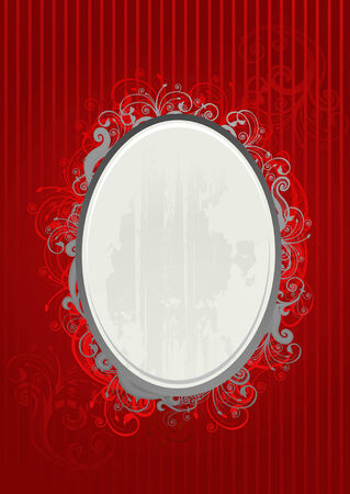 Vector illustration of red and gray oval frame Vector