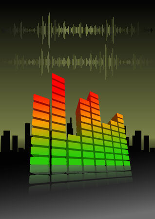 equalize: Vector illustration of an equalizer bar on abstract city background