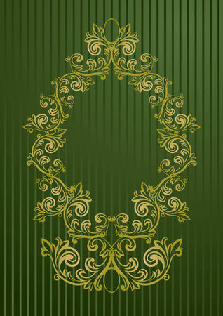 Gold and green vector illustration of an abstract floral frame Stock Vector - 3246899
