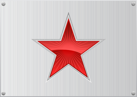 titanium plate: Vector illustration of a red star on aluminum background