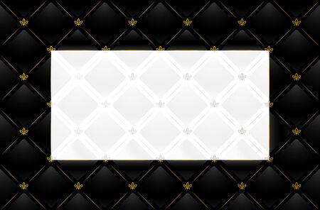 Vector illustration of black leather background with white and silver copy-space Vector