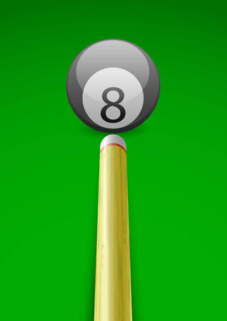 Vector illustration of a billiard ball with stick on green table background Vector