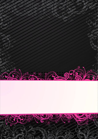 black and pink: Vector floral fondo de pantalla negro con blanco copia-espacio Vectores