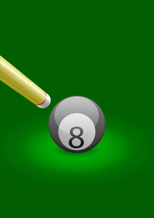 Vector illustration of a billiard ball with stick at the left side  Vector