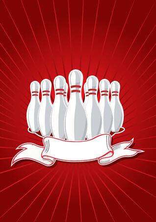 frappe: Vector illustration du 9 broches avec la banni�re sur le rouge