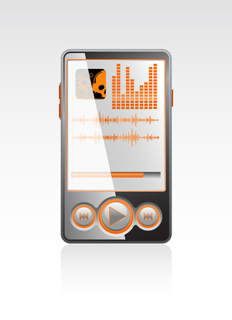 Vector black stylish player with orange interface Vector