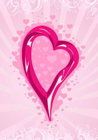 Vector illustration of a pink heart on floral wallpaper Vector