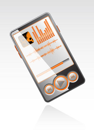 portable audio: Vector black stylish player with orange interface