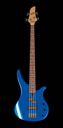 Vector realistic illustration of blue bass guitar Vector