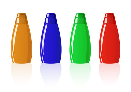 Vector illustration of four colored shampoo bottles Vector