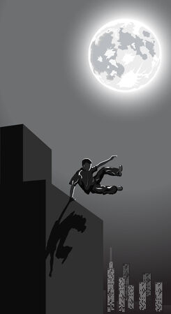 Vector illustration of jumping boy on night city background Vector