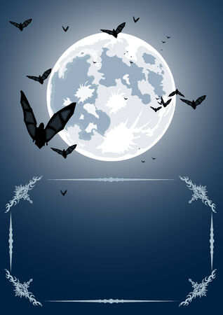 Vector Halloween frame with realistic moon and bats