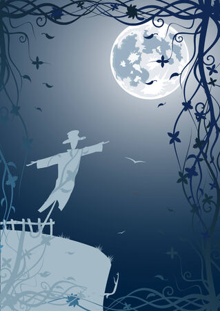 Vector illustration of scarecrow with moon and blue sky  Vector