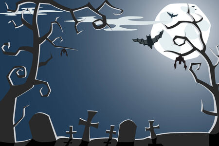 Vector Halloween illustration of a scary night cemetery with full moon and bats Vector