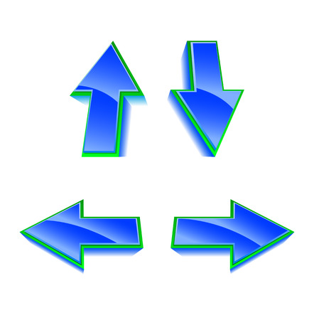 Set of 4 vector blue and green glossy arrows Stock Vector - 3321806