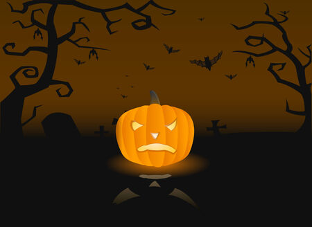 Vector illustration of a scary pumpkin on the grave with bats Vector