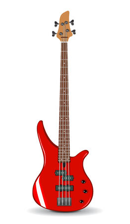 bass guitar: Vector realistic illustration of red bass guitar