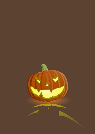 Vector illustration of an evil pumpkin on dark brown background Vector