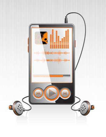 Vector black stylish player with modern orange interface on aluminum texture  Vector