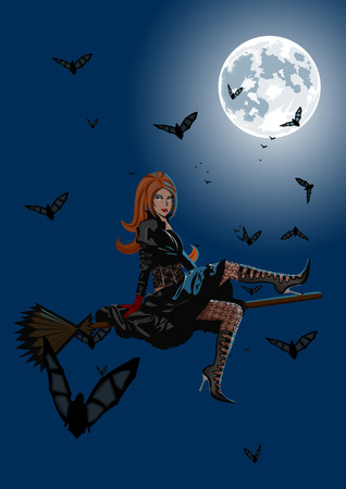 Beautiful witch sitting on broom on full moon background with lot of bats. Lot of details on costume and lingerie  Vector