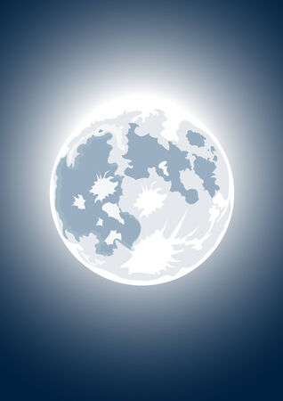 full moon: Vector illustration of full moon on dark sky background