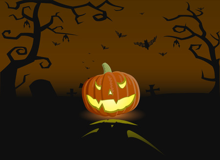 Vector illustration of an evil pumpkin on the grave with bats Vector