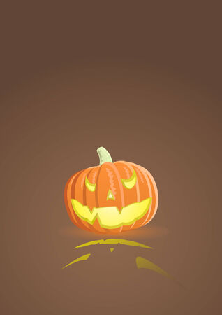Vector illustration of an evil pumpkin on light brown background Vector