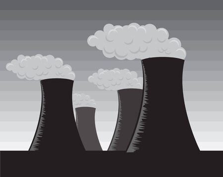 grayscale: Vector illustration of industrial factories, grayscale