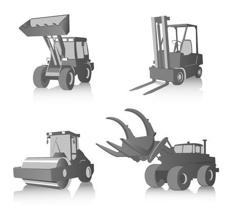 plowing: Vector conjunto de cuatro m�quinas industriales, en escala de grises  Vectores