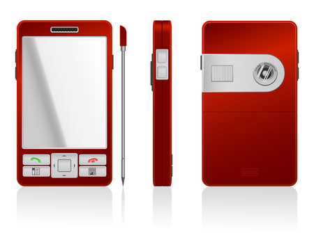 the sides: Vector photorealistic illustration of red PDA, 3 sides