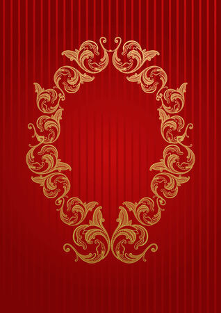 Vector royal wallpaper with gold floral frame Stock Vector - 3346794