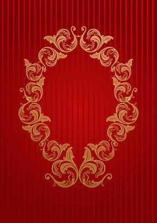 emblem red: Vector royal wallpaper with gold floral frame