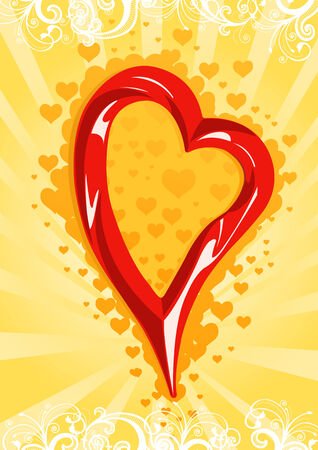 Vector illustration of a red heart on yellow floral wallpaper Stock Vector - 3346781
