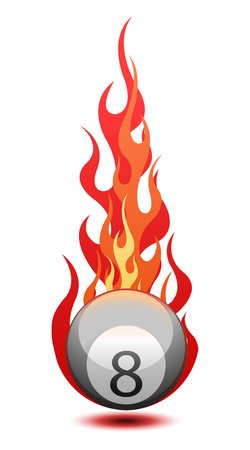 "Vector illustration of a ""Eight"" billiard ball in fire"