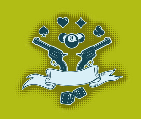 Vector stylish wallpaper with guns, cards, billiard balls, and ribbon for your text Stock Vector - 3346799