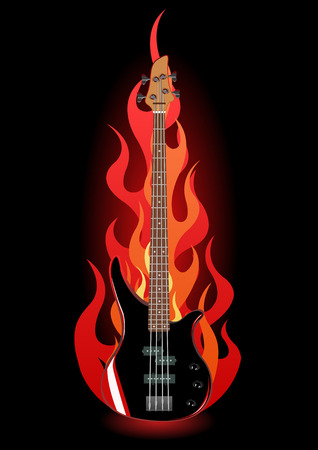 accords: Vector illustration of bass guitar in flames on black background