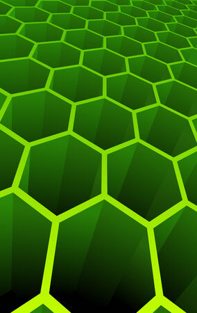 Vector illustration of green 3d abstract cells for science or business background