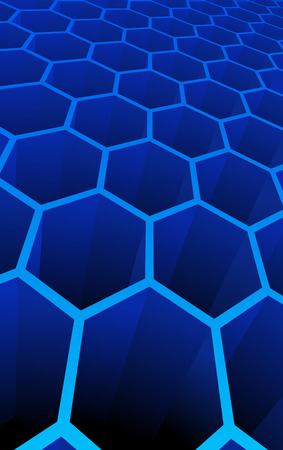 Vector illustration of blue 3d abstract cells for science or  background Vector