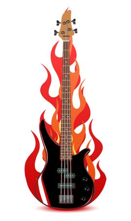 Vector illustratie van basgitaar in vlammen geïsoleerd op witte achtergrond