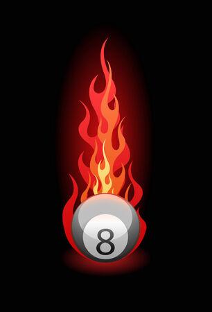 """bola ocho: Ilustraci�n vectorial de un """"ocho"""" bolas de billar en el fuego sobre fondo negro"""