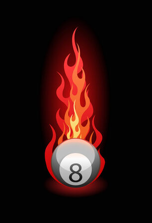 Vector illustration of a Eight billiard ball in fire on black background Illustration