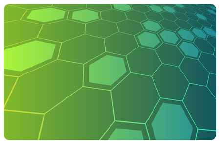 hexagonal: Vector green abstract hi-tech illustration for science or  background