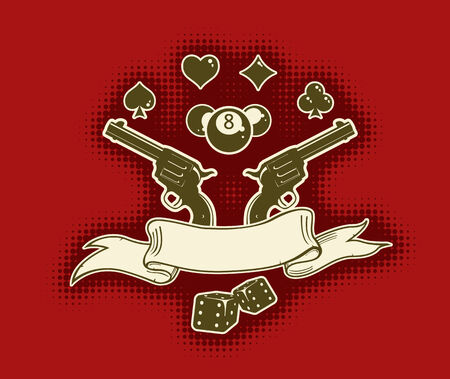 Vector red stylish wallpaper with guns, cards, billiard balls, and ribbon for your text Stock Vector - 3398115