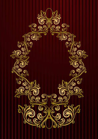Vector black royal wallpaper with gold floral frame Vector