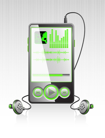 Vector black stylish player with modern green interface on aluminum texture