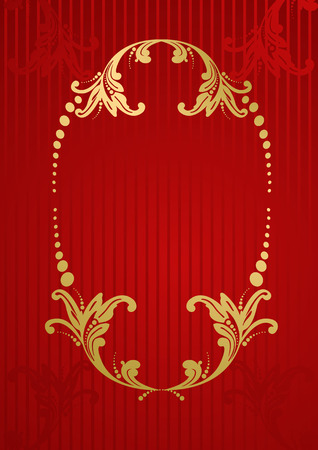 baroque border: Vector red royal wallpaper with gold floral frame